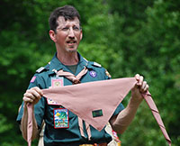 Scarf held by Scoutmaster Eric Sullivan