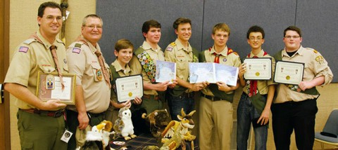 Shawn Holcomb, from left, and Reed Carpenter received the Wood Badge Award and helped Tucker Pearson, Zach Nash, Samuel Sandstrom, Zach Holcomb and Colton Pearson to receive the Eagle Scout Award. (CONTRIBUTED)
